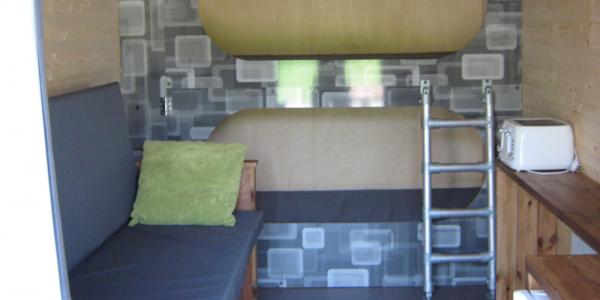 The built in bunk beds inside a glamping bothy at Barnsoul Caravan Park